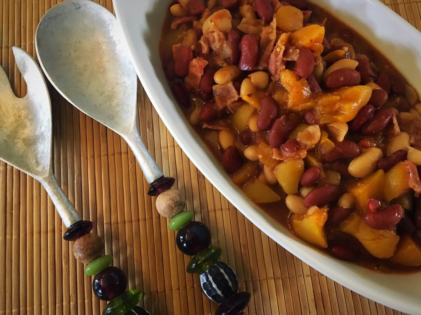 Peach Bourbon Baked Beans Recipe